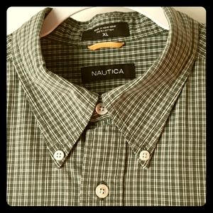 Nautica Short Sleeve Plaid Collar Shirt